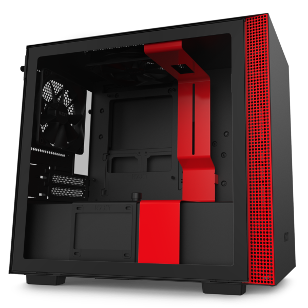 NZXT H210 Mini-ITX Case with Tempered Glass – MATTE BLACK RED
