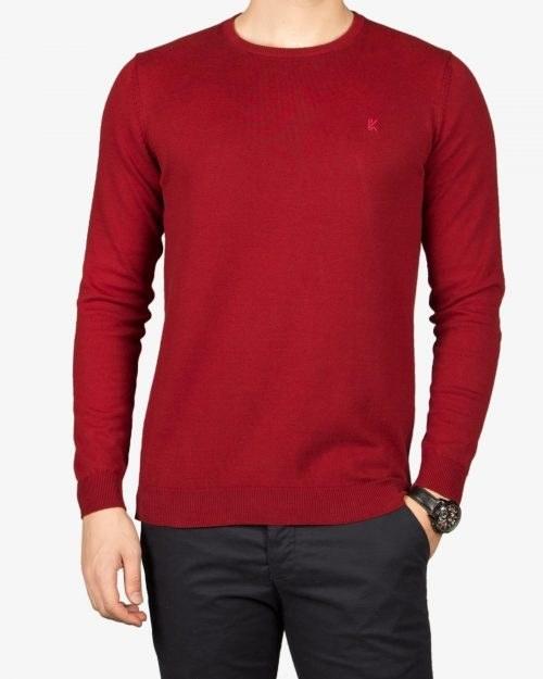 پلیور بافت مردانه ساده یقه گرد قرمز