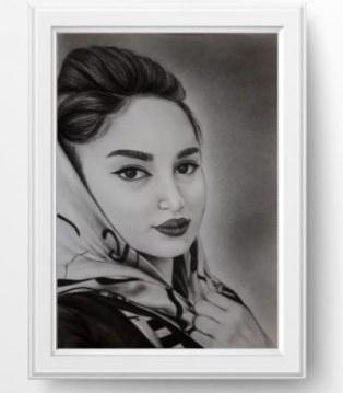 تصویر سفارش طراحی چهره سیاه قلم