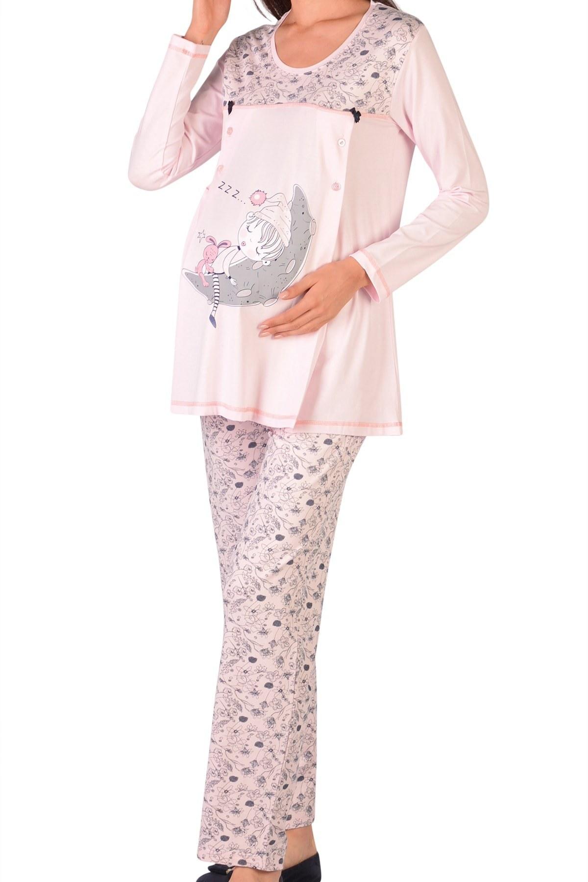 ست لباس راحتی بارداری زنانه آستین کوتاه صورتی برند Nicoletta کد 1603908181