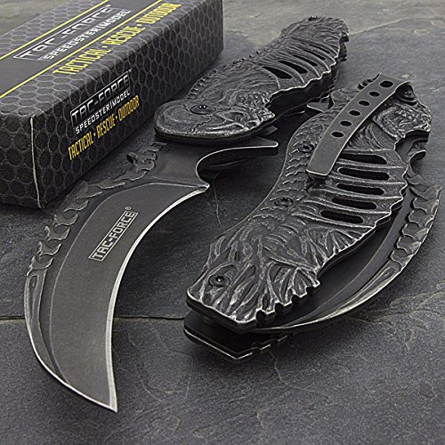 | Tac-force Spring Assisted Open Skull Skeleton Claw Folding Blade Pocket Knife