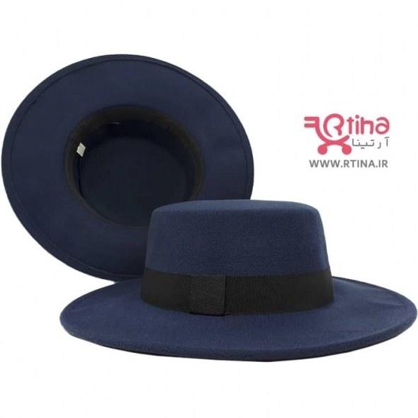تصویر کلاه لبه گرد مردانه /زنانه رنگ سورمه ای مدل خاخامی