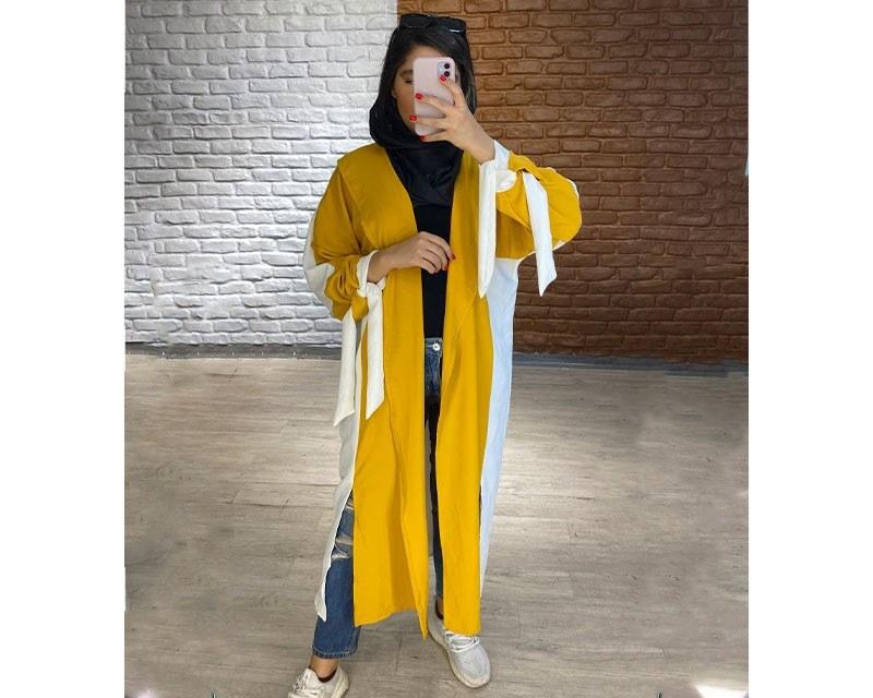 تصویر مانتو ابروبادی عبایی سفید-زرد کد 3043