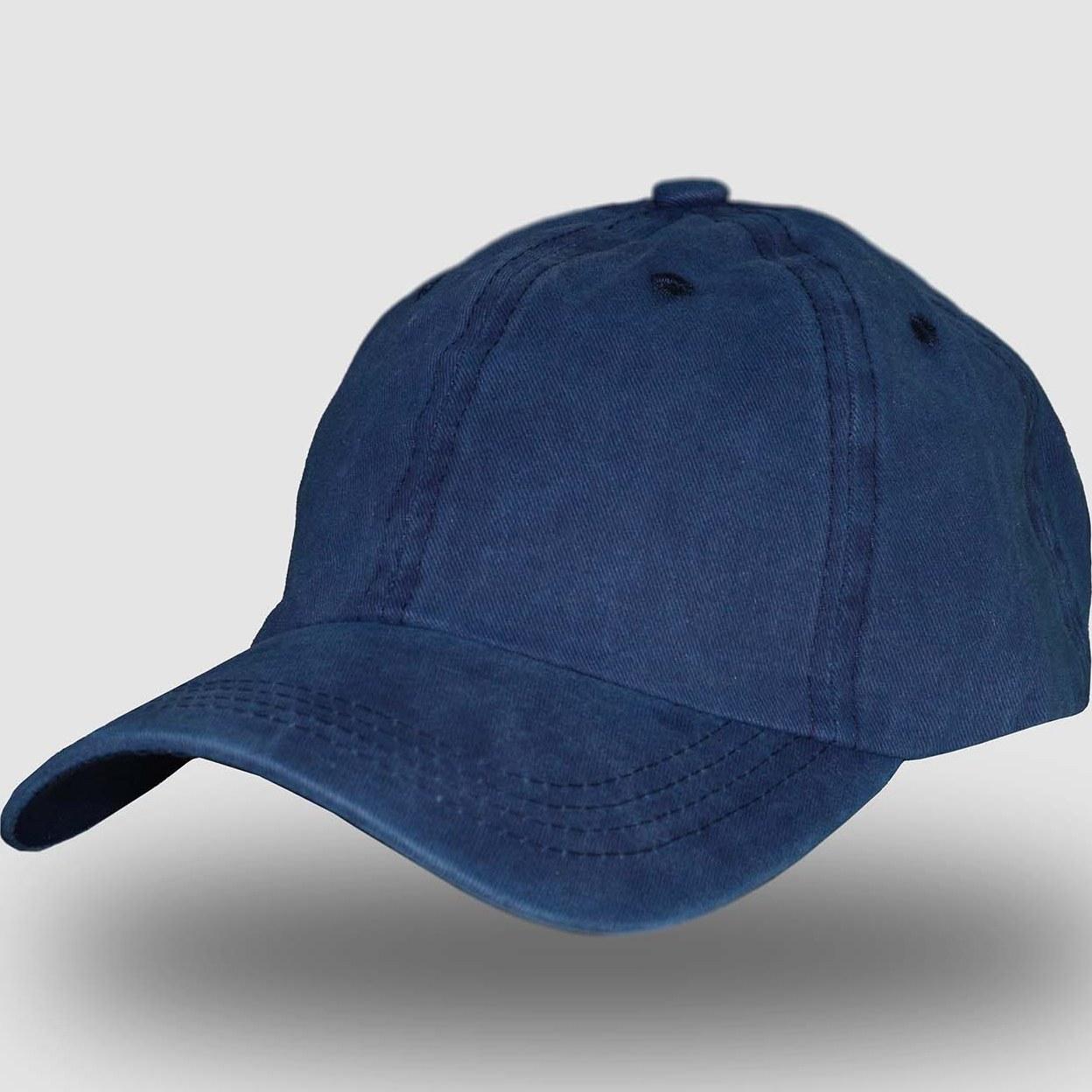 تصویر کلاه نقاب دار نخی ساده آبی چرک وینتیج