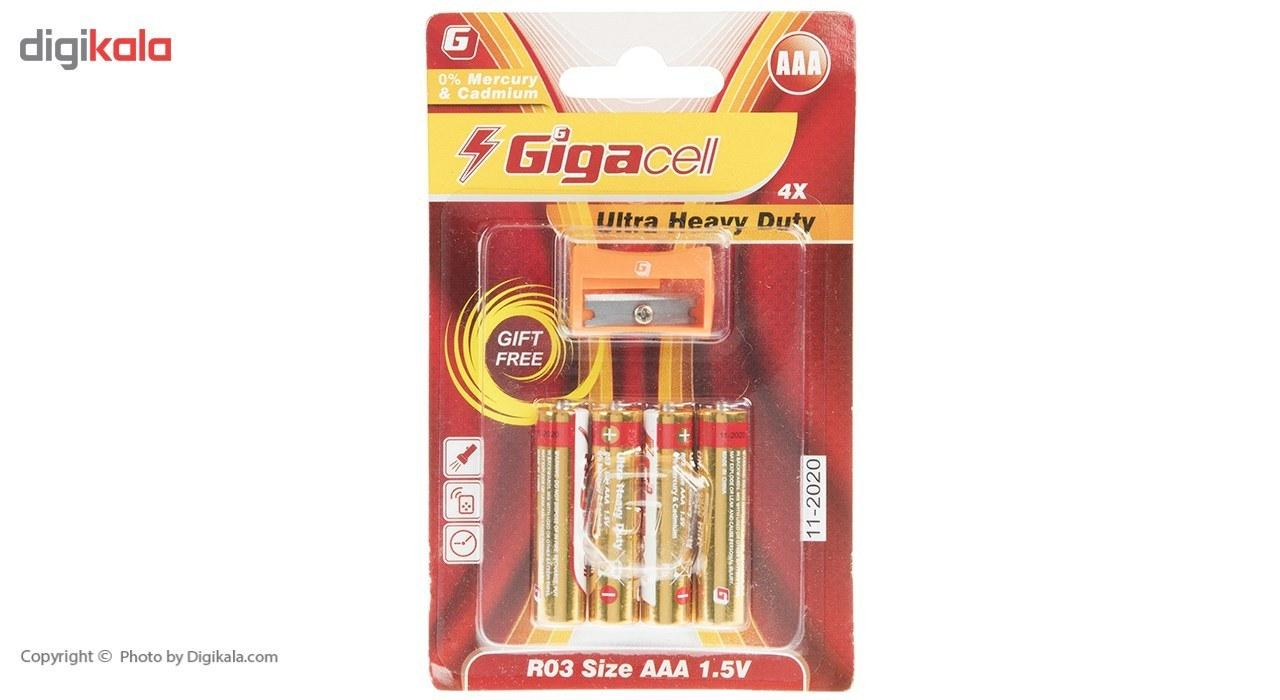 img باتری نیم قلمی گیگاسل مدل Ultra Heavy Duty بسته 4 عددی Gigacell Ultra Heavy Duty AAA Battery Pack of 4