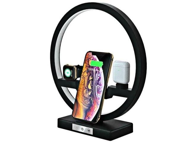 شارژر بی سیم سه کاره رومیزی مدل Multifunction Desk Lamp Wireless Charger مناسب برای شارژ گوشی، ایرپاد و اپل واچ |
