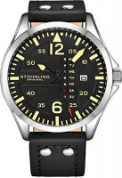 تصویر ساعت چرم مصنوعی اصلی Stuhrling، دیده بان هوایی، روز تعطیل روز، نوار چرم با ناخن های فولادی، مجموعه 699 مردان دیده بان