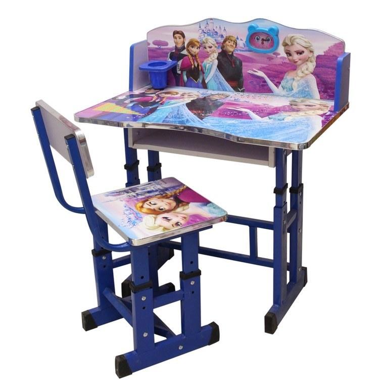 تصویر صندلی و میز تحریر کودک چوبی پایه فلزی