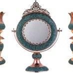 تصویر ست آینه و شمعدان فیروزه کوب کد F-08