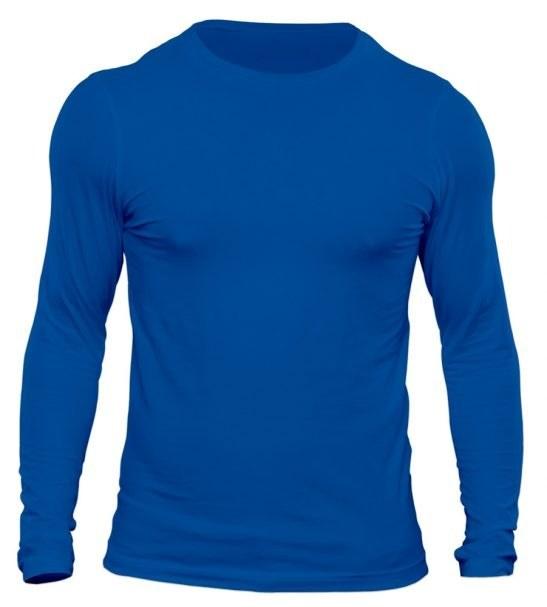 تیشرت آستین بلند مردانه رنگ آبی شالی