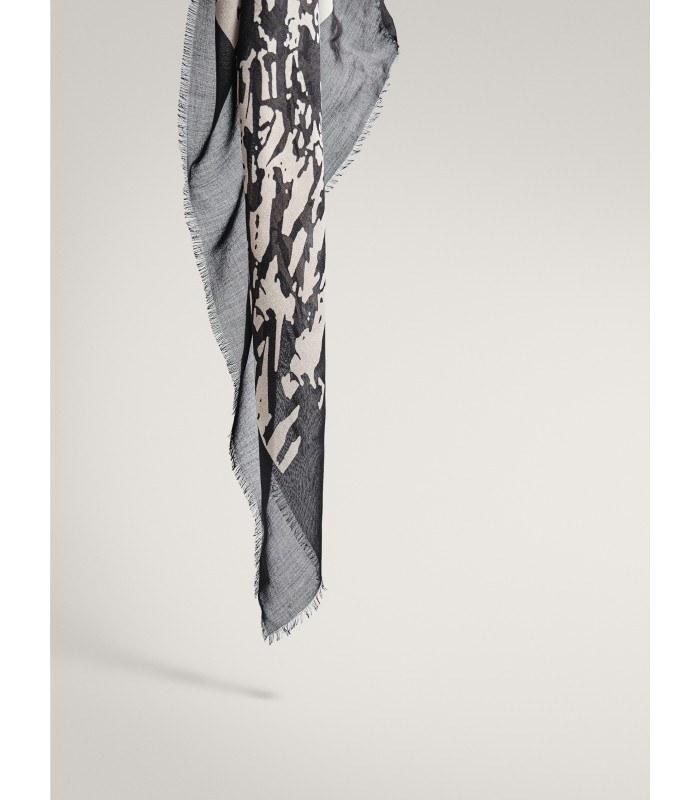 روسری زنانه ماسیمو دوتی مدل BLACK SPLASH PRINT MODAL WOOL SCARF