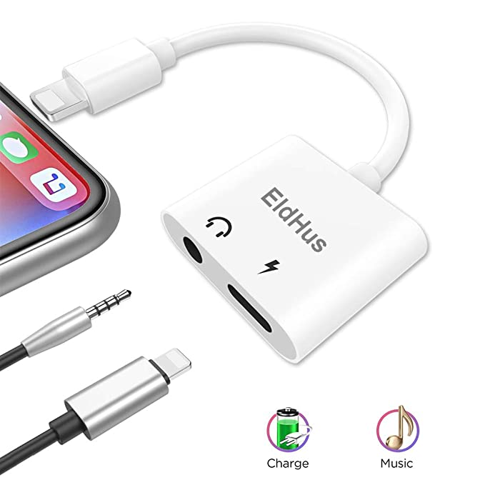 main images آداپتور هدفون و شارژر آیفون EldHus 3.5mm Headphone Jack Adapter, 3.5 mm Headphone Audio + Charge Adapter 2 in 1 Audio Splitter Compatible IP XS/XR/ XS Mas,IP 7/8/X/7Plus/8Plus