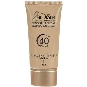 ضد آفتاب کرم پودری شماره 1 بژ روشن SPF40 مدیسان مناسب انواع پوست 30 میلی لیتر