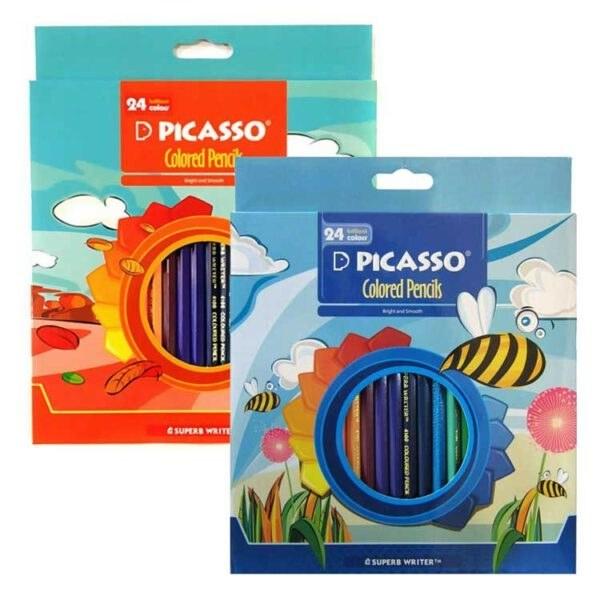 تصویر مداد رنگی 24 رنگ جعبه مقوایی پیکاسو