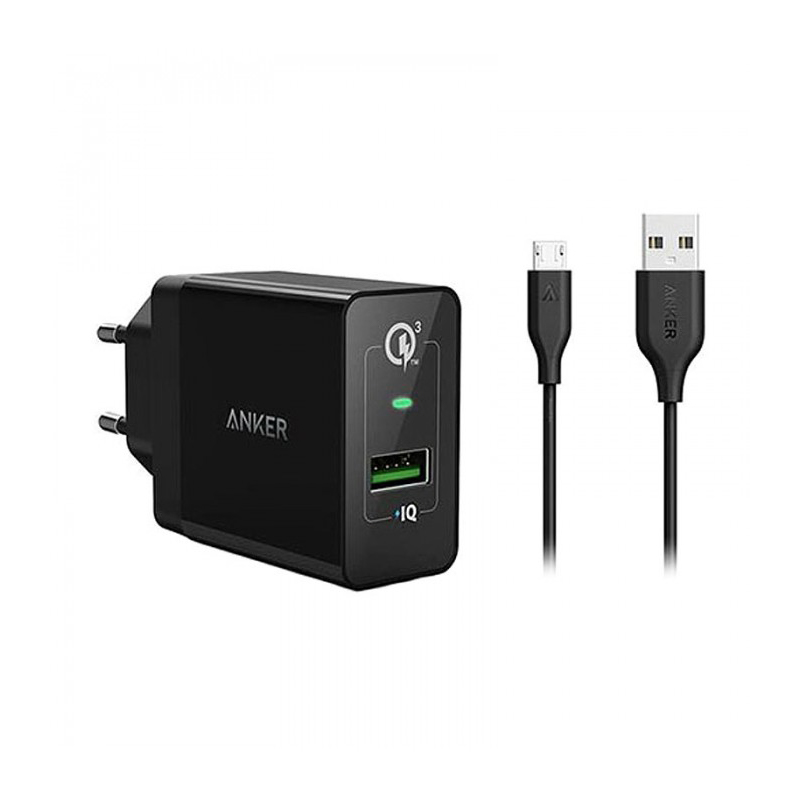 Anker B2013 PowerPort+ 1 Quick Charge 3.0 With Micro USB Cable Wall Charger