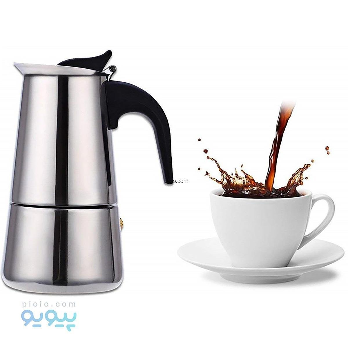 تصویر قهوه جوش اسپرسو ساز استیل ۲ کاپ