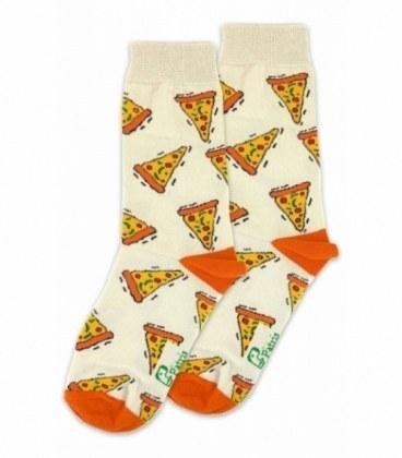 جوراب ساق دار نانو پاتریس طرح پیتزا کرم  