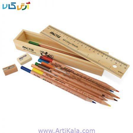 مداد رنگی 12 رنگ فکتیس جعبه چوبی  