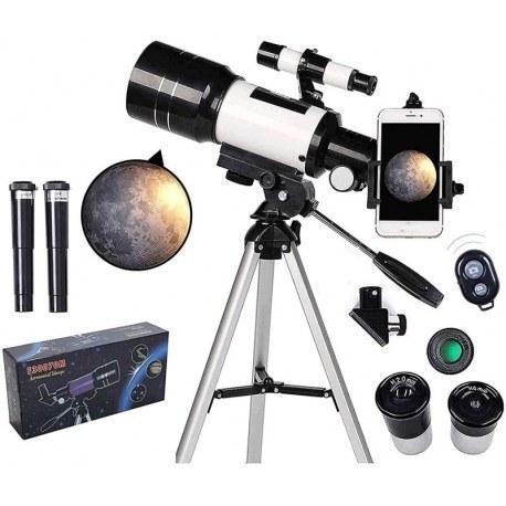 تصویر تلسکوپ شکست نجومی + سه پایه Astronomical Refracting Telescope