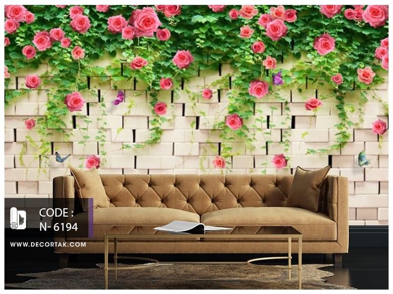 تصویر پوستر دیواری طبیعت طرح دیوار آجری با گل های صورتی کد N-6194