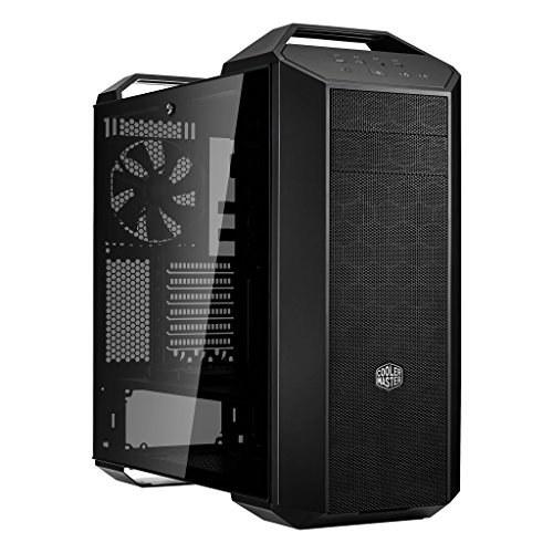 تصویر کولر Master MasterCase MC500 Mid-Tower ATX Case w / Freeform Modular ، تهویه جلو مشبک ، پانل سمت شیشه ای خو ، دسته حمل