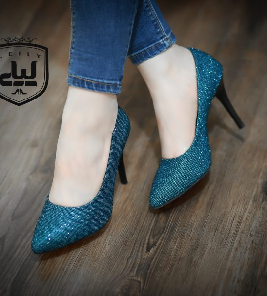 کفش لمه آبی پاشنه 5 سانت