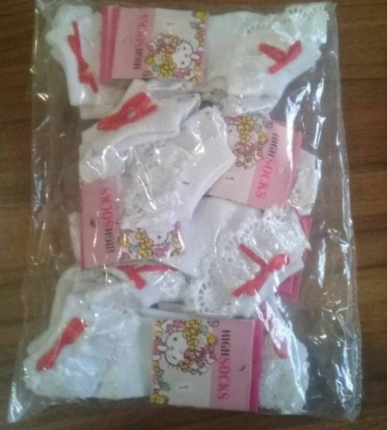 جوراب دخترانه نواردوزی شده بسته 6 عددی
