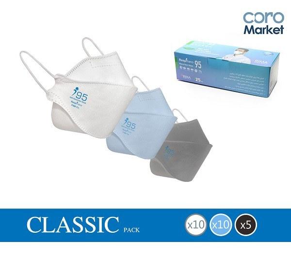 تصویر ماسک تنفسی چهار لایه سه بعدی نانو مدل کلاسیک (۲۵ عددی) 3d face mask Classic nano