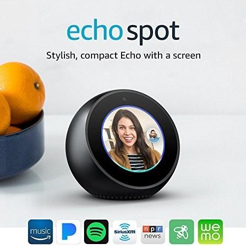 عکس دستگاه هوشمند اکو اسپات Echo Spot - رنگ سیاه  دستگاه-هوشمند-اکو-اسپات-echo-spot-رنگ-سیاه