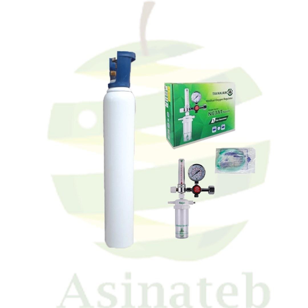 تصویر کپسول اکسیژن  ۱۰ لیتری ایرانی به همراه مانومتر نجات