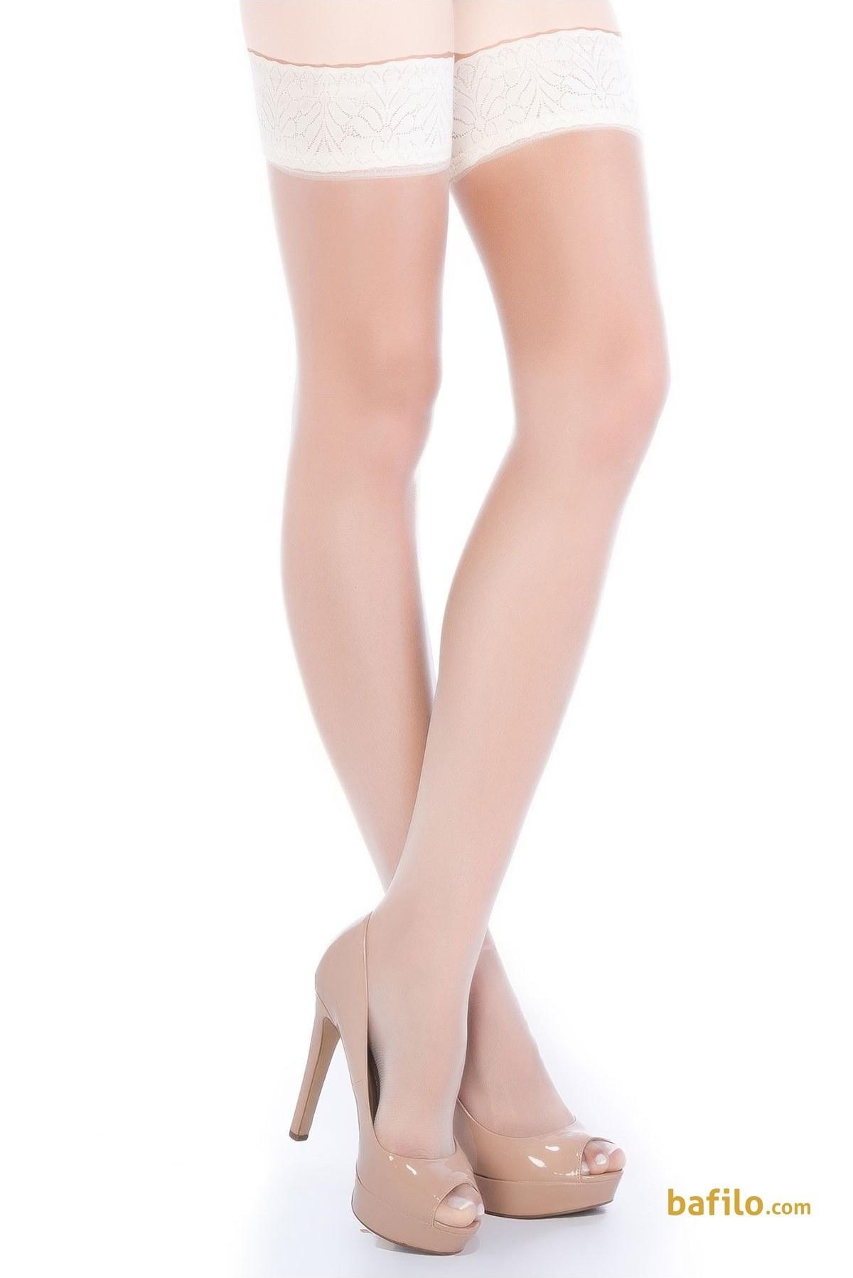 جوراب جارتیر بالای زانوی زنانه پنتی Fantezi سفید  