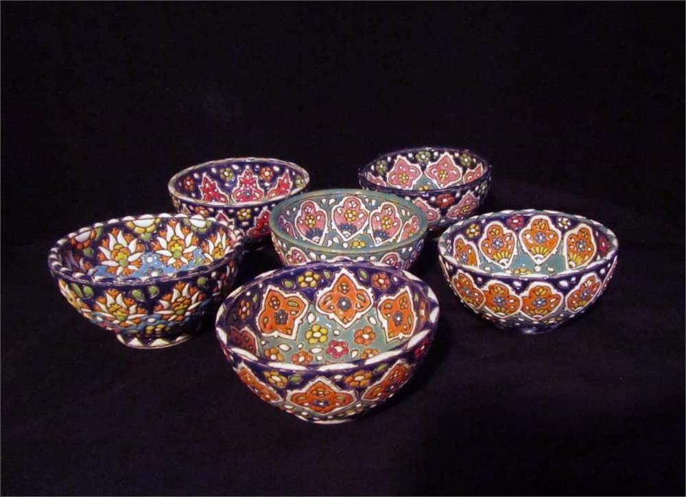 تصویر کاسه میناکاری کد 202-هنر زیبای سفال همدان با شهرت جهانی Enamel bowl bowl 202-Beautiful art of Hamedan pottery with world fame