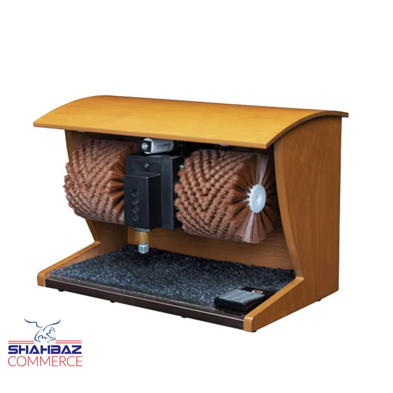 تصویر دستگاه واکس زن کفش خانگی ریمکس با بدنه چوبی