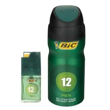 اسپری مردانه بیک مدل 12 حجم 150 میلی لیتر به همراه عطر جیبی مردانه بیک مدل 12 حجم 7 میلی لیتر | Bic No.12 Spray For Men 150ml with Bic Parfum 7 ml