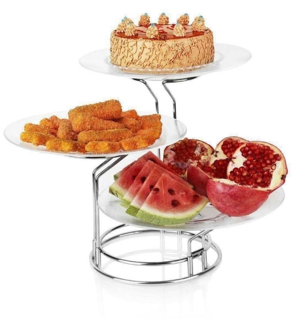 تصویر دیس پایه دار میوه و شیرینی