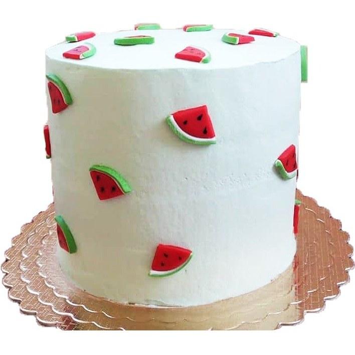 کیک خامه ای تم یلدا با فیلینگ موز و گردو |