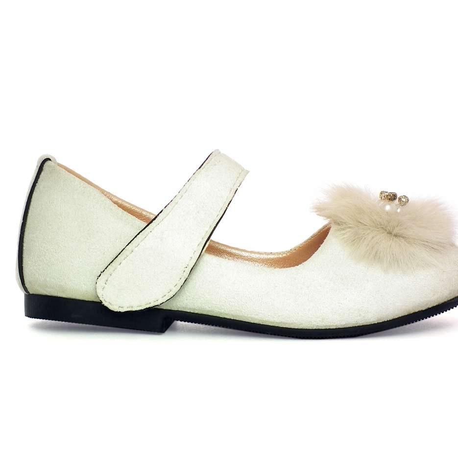 تصویر کفش دخترانه مخمل مدل AMS سفید