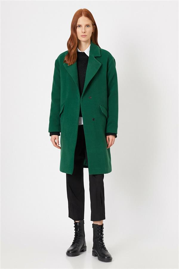 تصویر پالتوی زنانه کوتون  0202 Koton Women Green Coat 0KAK06633EW