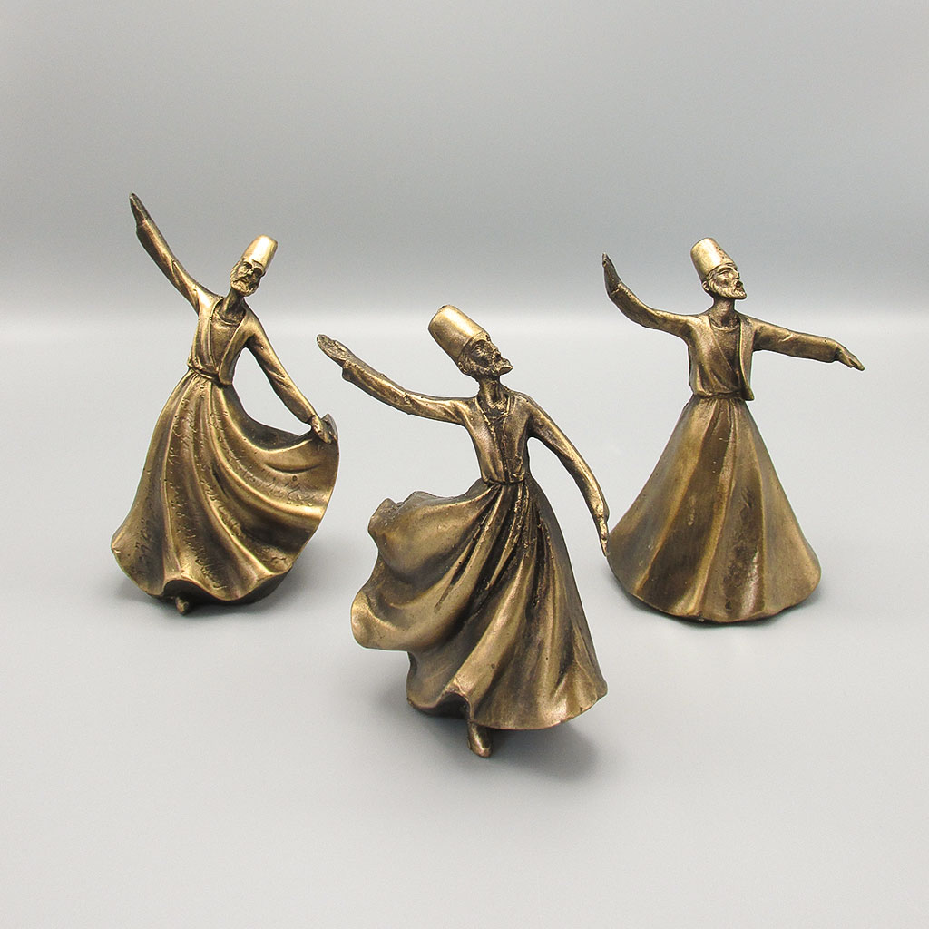 عکس مجسمه رقص سماع سه حالته طرح برنز - کد 7099  مجسمه-رقص-سماع-سه-حالته-طرح-برنز-کد-7099