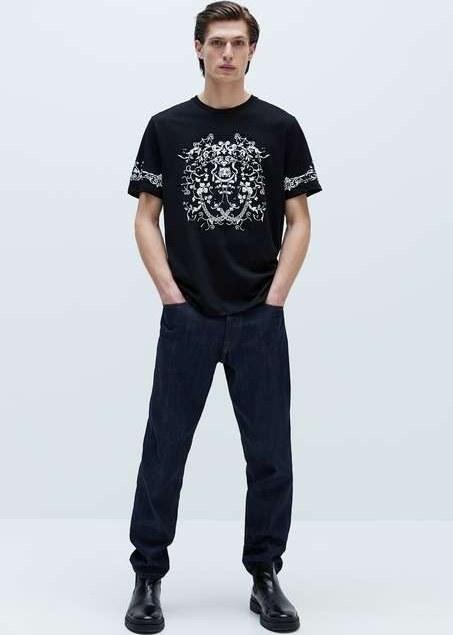 تی شرت آستین کوتاه زارا با کد 0679/411/BLACK ( CONTRAST PRINT T-SHIRT )