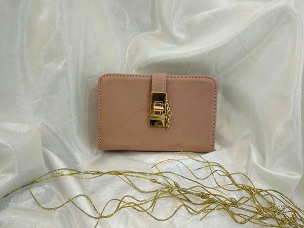 کیف پول زنانه قفل پیچی و زیپ رنگ صورتی کد D211