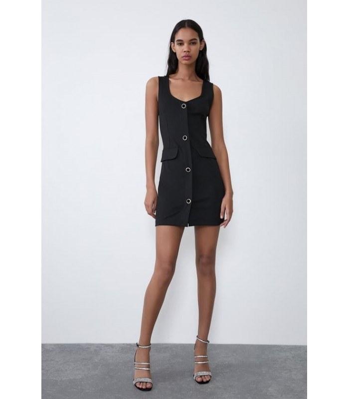 پیراهن زنانه زارا مدل DRESS WITH JEWEL BUTTONS |