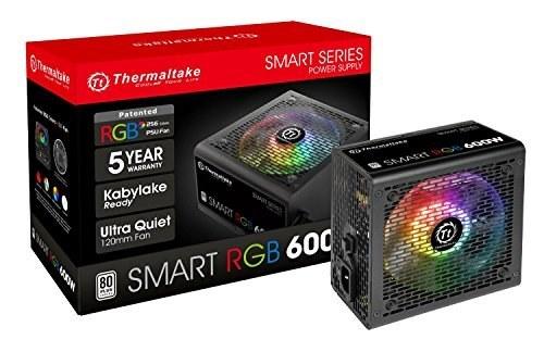main images Thermaltake Smart RGB 600W 80 256-Color RGB Fan ATX 12V 2.3 منبع تغذیه آماده Kaby Lake 5 سال گارانتی منبع تغذیه PS-SPR-0600NHFAWU-1
