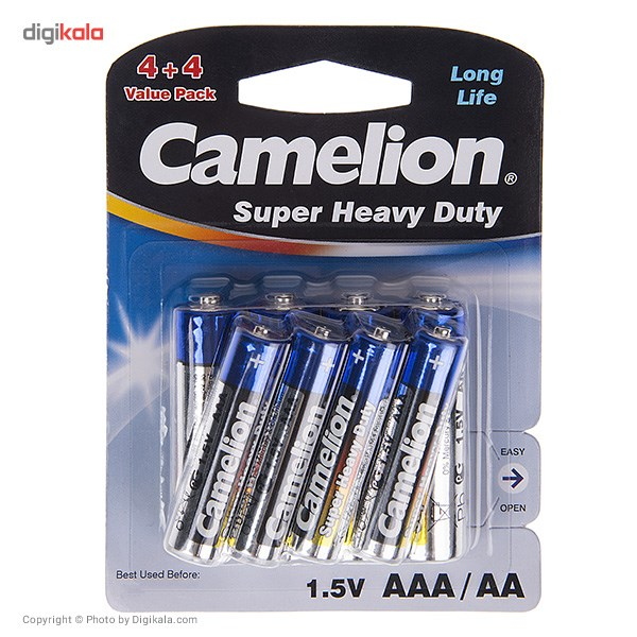عکس باتري قلمي و نيم قلمي کمليون مدل Super Heavy Duty بسته 8 عددي Camelion Super Heavy Duty AA And AAA Battery Pack Of 8 باتری-قلمی-و-نیم-قلمی-کملیون-مدل-super-heavy-duty-بسته-8-عددی 1