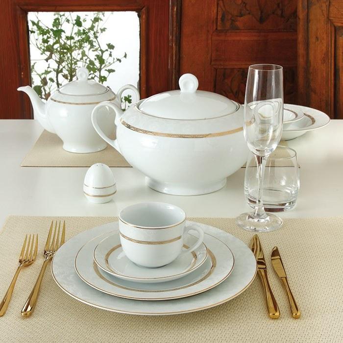 تصویر سرویس چینی زرین 12 نفره کامل هدیه طلایی (102 پارچه) Zarin Iran ItaliaF Gift Gold 102 Pieces Porcelain Dinnerware Set