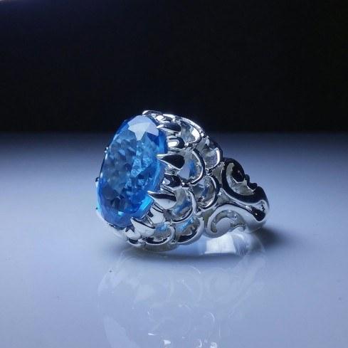 انگشتر توپاز آبی معدنی اصل  