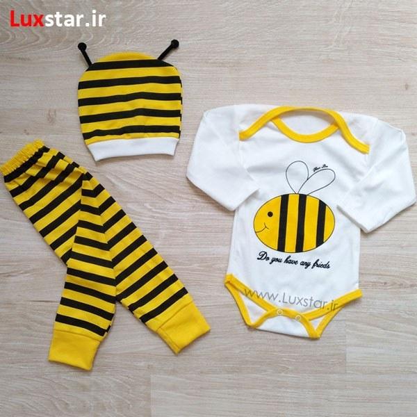 تصویر ست 3 تکه لباس نوزادی طرح زنبور