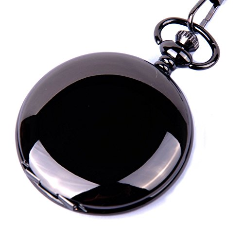 CSMARTE CSMARTE Classic Smooth Surface Mechanical Black Pocket Watch with Chain