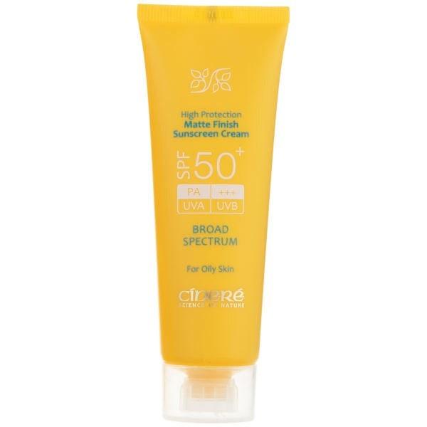 تصویر کرم ضد آفتاب بی رنگ فاقد چربی سینره مناسب پوست چرب SPF50  Cinere Matte Finish Sunscreen Cream SPF50 for Oily Skin