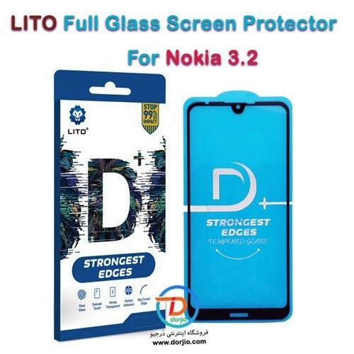 تصویر گلس فول +D گوشی نوکیا 3.2 مارک LITO LITO D+ Dustproof Full Coverage Full Glue Tempered Glass Screen Protector For Nokia 3.2